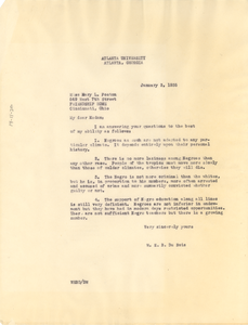 Letter from W. E. B. Du Bois to Mary L. Poston