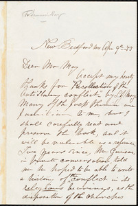 Letter from Charles Hazeltine, New Bedford, [Mass.], to Samuel May, Jr., Apr[il] 9th [18]73