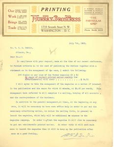 Letter from F. Morris Murray to W. E. B. Du Bois
