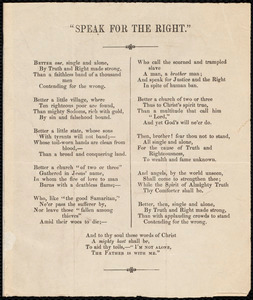 "Poem to Samuel May: ""Speak for the right."""