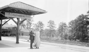 Jackson and Corinne Davis at train station.