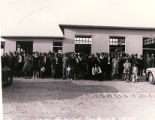 Photograph of Protestant Conference attendees in Carver Park, October 13, 1943
