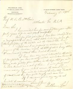 Letter from Polhemus Lyon to W. E. B. Du Bois
