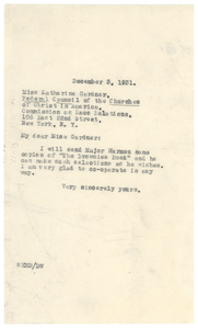 Letter from W. E. B. Du Bois to Federal Council of the Churches of Christ in America