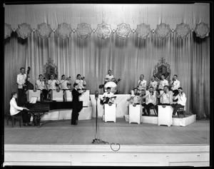Unidentified jazz band poses on stage