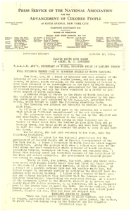 Press releases from the Press Service of the NAACP