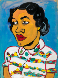 Bust of a Woman in White Print Blouse