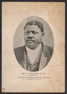 Advertisement card for Rev. Isaac Toliver