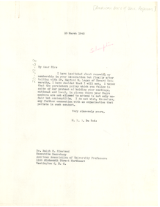 Letter from W. E. B. Du Bois to American Association of University Professors
