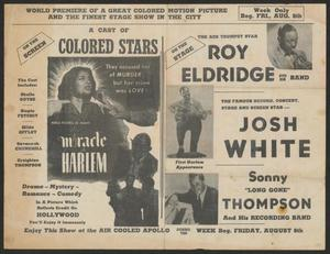Advertisement for Roy Eldridge at the Apollo Theater in Harlem