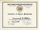 Black American Racers Association Certificate of Charter Membership to Leonard W. Miller