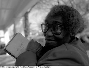 Photograph of Osceola Mays and her manuscript Dallas/Fort Worth Black Living Legends Dallas/Fort Worth Black Living Legends, 1991