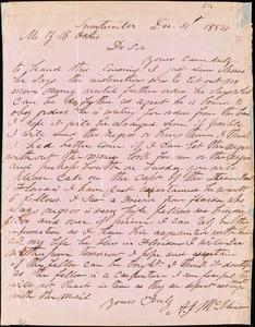 A. J. McElveen, Sumterville, S.C., autograph letter signed to Ziba B. Oakes, 31 December 1854