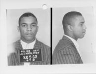 Mississippi State Sovereignty Commission photograph of Reginald Malcom Green following his arrest for his participation in the Freedom Rides, Jackson, Mississippi, 1961 June 7
