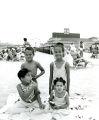 Beverly Barnes, Karla Barnes, Billy Harris and Debra Harris on Chicken Bone Beach in Atlantic City, New Jersey