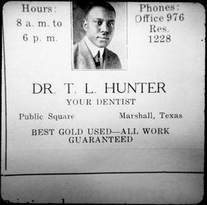 Advertisement for Dr. T. L. Hunter