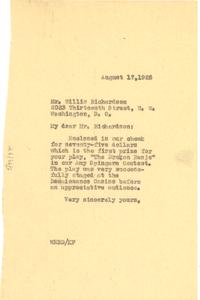 Letter from W. E. B. Du Bois to Willis Richardson