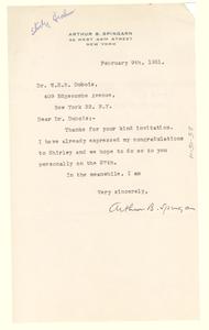 Letter from Arthur B. Spingarn to Mrs. W. E. B. Du Bois