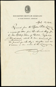 Receipt of manuscript letter received from Francis Jackson Garrison to the Boston Public Library, Boston, April 13, 1914
