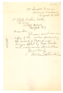 Letter from William H. Dinkins to W. E. B. Du Bois