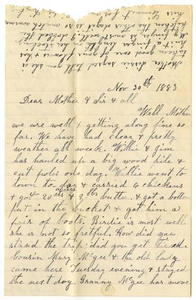 [Letter from Dinkie McGee to Matilda Dodd and Mary Ann Moore, November 30, 1883] Charles B. Moore Family papers, 1832-1917