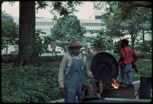 Atlanta, Georgia, 1988: National Black Arts Festival. African American blacksmith
