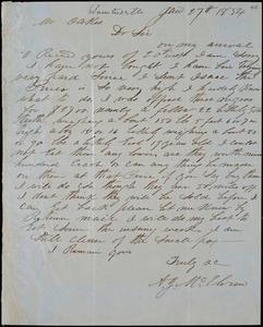 A. J. McElveen, Sumterville, S.C., autograph letter signed to Ziba B. Oakes, 27 January 1854
