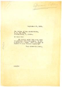 Letter from W. E. B. Du Bois to Abantu-Batho