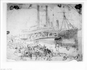 Scene on the Levee at Baton Rouge, Louisianna: Contrabands Discharge the Ammunition from the U.S. Transport North Star