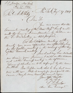 Letter from Simeon Smith Jocelyn, New York, to Amos Augustus Phelps, Aug. 27 1844