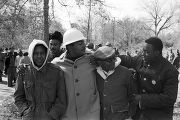 Simuel Schutz, Wendell Paris, Willie Ricks, George Ware, and students marching in Tuskegee, Alabama, during a demonstration to protest the murder of Samuel L. Younge, a civil rights worker.