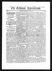 Thumbnail for The Galveston Representative. (Galveston, Tex.), Vol. 1, No. 16, Ed. 1 Saturday, March 23, 1872 The Representative