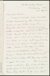 Letter from Samuel May, 21 Cornhill, Boston, [Mass.], to Miss Weston, Wednesday p.m., Nov. 28 / [18]55