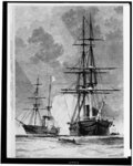 The San Jacinto, having overhauled the British mail packet Trent, forces her to heave to.  Confederate commissioners Mason and Slidell were taken off shortly afterward