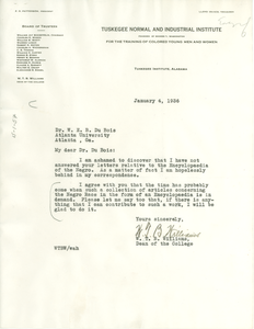 Letter from W. T. B. Williams to W. E. B. Du Bois