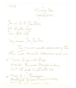 Letter from Vivian G. Harsh to W. E. B. Du Bois