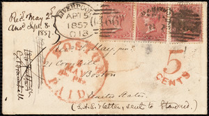 Letter from S. Alfred Steinthal, Liverpool, [England], to Samuel May, April 15th, 1857