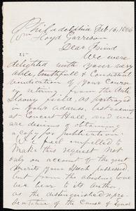 Letter from William Whipper, Philadelphia, [Pa.], to William Lloyd Garrison, Feb[ruary] 16, 1866