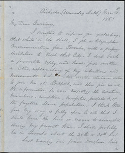 Letter from George Thompson,Rochester, [New York], to William Lloyd Garrison, 1851 Mar[ch] 14th