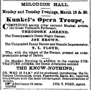 Kunkel's Opera Troupe Listing