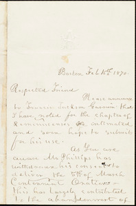 Letter from William Cooper Nell, Boston, [Mass.], to William Lloyd Garrison, Feb[ruary] 16th, 1870