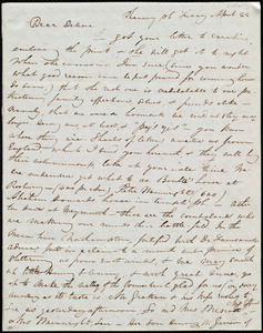 Letter from Maria Weston Chapman, Chauncy pl[ace], [Boston, Mass.], to Deborah Weston, Friday, April 22, [1841?]