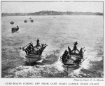 Surf-boats coming off from Cape Coast castle (Gold Coast.)
