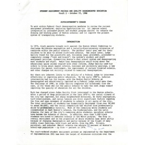 Student assignment process and quality desegregated education Draft 2, October 15, 1986.
