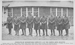 Sergeants of redoubtable Company C. of the famous 369th Infantry; [Right to left: Robert Poilard; James Smith; Charles Wright; Marshall T. Bridgett, the famous Honorable War Lord; Robert Mason; Alfred Adams; Albert Johnson; James Beckton; Mcnamary.]