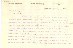 Letter from W. E. B. Du Bois to J. H. Jones