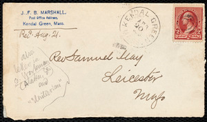 Letter from J. F. B. Marshall, Kendal Green, Mass., to Samuel May, Aug. 20, 1890