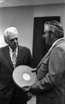 KPIX general manager Al Constant (left) and former museum director John Peetz speaking at Jesse Fuller concert at the Oakland Museum