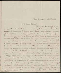 Letter from Deborah Weston, New Bedford, [Mass.], to Anne Warren Weston, Nov. 19, 1837