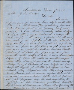 A. J. McElveen, Sumterville, S.C., autograph letter signed to Ziba B. Oakes, 9 December 1853